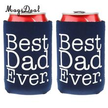 MagiDeal 4 Styles Funny BEST DAD EVER Beer Can Holder Cooler Fathers Day Gift 2pcs Wedding Party Supply(China)