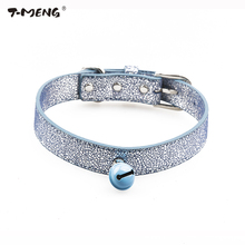 T-MENG Brand Dog Collar Bling Genuine Leather Bell Pet Collars Adjustable For Puppy Small Medium Large dogs Pet products(China)
