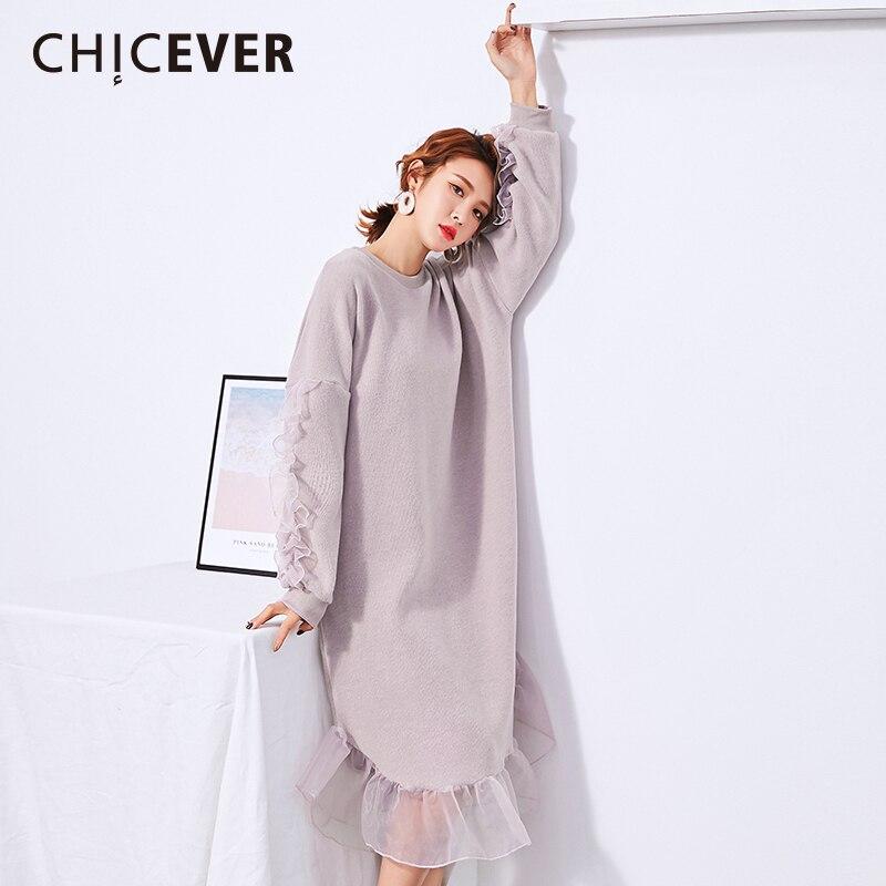 CHICEVER Winter Ruffles Patchwork Mesh Women Dress Long Sleeve Loose Big Size Knitted Dresses Female Clothes Fashion Vestidos Îäåæäà è àêñåññóàðû<br><br>