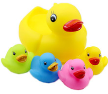 4pcs/set Baby Bath Toys Yellow Duck Cute Classic Baby Squeeze-sounding Dabbling Toys Bathroom Multicolor Kid Toy For Children(China)