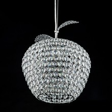 Modern Apple stainless steel led lamps crystal Pendant Lights bedroom lamps led luster light crystal restaurant Pendant lamps(China)