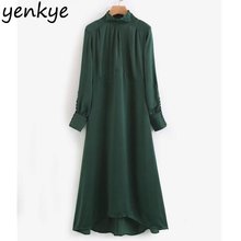 Buy European Style Women Green Flowing Midi Dress Casual Long Sleeve Turtleneck Satin Chiffon Dress Autumn vestidos mujer XQB7352 for $15.63 in AliExpress store