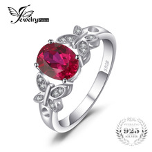 JewelryPalace Butterfly 1.8ct Oval Created Ruby Statement Ring 100% 925 Sterling Silver Rings For Women New Fashion Fine Jewelry(China)