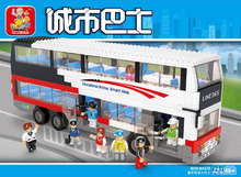 Sluban City Deluxe Double Big Bus Building Blocks set Bricks Construction Enlighten Toys For Children Gift compatiable with kid()