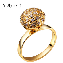 Ball rings gold color jewellery Trendy women's unique designer chinese market online cubic zirconia finger ring fashion jewelry(China)