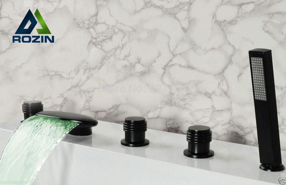 Luxury Led Bathroom Tub Faucet Oil Rubbed Bronze 5pcs LED Color Change Bathtub Mixer Tap With Handheld Shower<br><br>Aliexpress