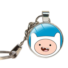 Adventure Time With Finn And Jake Keychain Glass Cabochon Cartoon AT Key Chains Glass Dome Key Ring Jewelry Pendant Key Holder