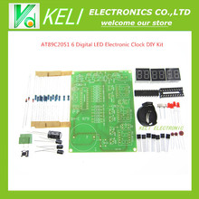 1kit 9V-12V AT89C2051 6 Digital LED Electronic Clock Parts Components DIY Kit Module
