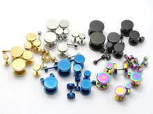 2Pcs Black Sliver Gold Blue Rainbow Stainless Steel Fake Cheater Ear Plugs Gauge Earrings Body Jewelry Pierceing 3-14mm