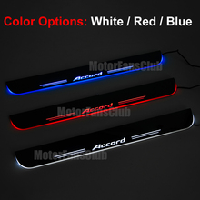 Car Styling LED Moving Door Sill Guards Cover Stainless Steel Waterproof Scuff Plate Welcome Pedal For Honda Accord 2008-2016