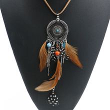 Ethnic Long Feather Necklace Women Boho Rope Chain Necklaces Pendant Vintage Jewelry Accessories Bijoux Femme Collier HQNF-022