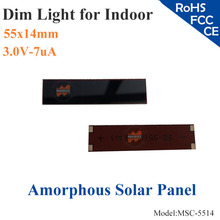 55x14mm 3.0V 7uA dim light Thin Film Amorphous Silicon Solar Cell ITO glass for indoor Product,calculator,toys,0-2.5V battery