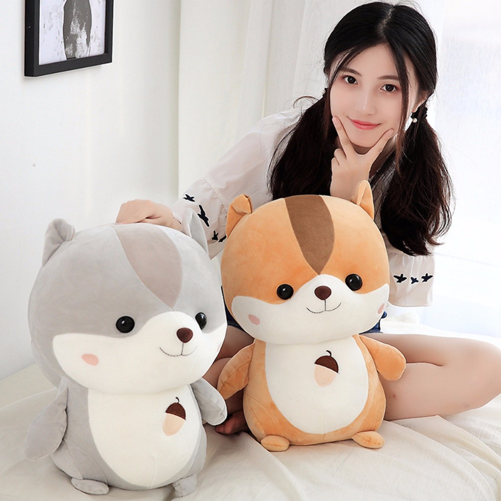 Cute Squirrel Stuffed Animal Squirrel Cartoon Plush Soft Toys Gift For Kid 25cm
