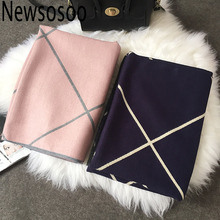 winter style Design Shawls Scarves for Women Plaid Luxury Scarf Winter Brand Square Soft Cashmere stripe lady Women pink Scarf(China)