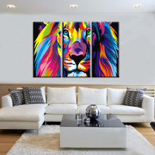 3 Panel Wall Art Canvas Prints Animal Colorful Lion Painting Canvas Wall Pictures for Living Room Modern Home Decor Unframed