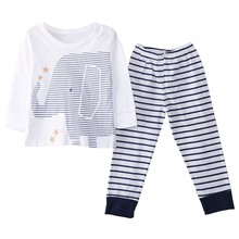 ABWE Best Sale Elephant Toddler Baby Boys Clothes Long Sleeve Tops T-Shirt Pants Outfits Sets , White , 18-24 Months