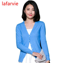 Lafarvie Women Autumn Winter Cashmere Blend Sweater V-Neck Cardigan Long Sleeve Jumpers Womens Knitted Sweaters 9 Colors S-XXXL(China)