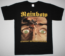 Biker T Shirts Casual O-Neck Short-Sleeve Tee Shirts Rainbow Straight Between The Eyes Blackmore Deep Purple Dio New Black