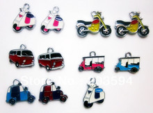 M7849 Wholesale 100Pcs/Lots mixed Enamel Alloy Transport Charms Pendant Diy bike an car charms Mobile phone Accessories bead(China)