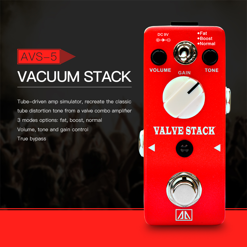 AROMA AVS-5 Valve Stack Classic Tube-driven Amp Simulation Distortion Guitar Effect Pedal Aluminum Alloy Body True Bypass<br>