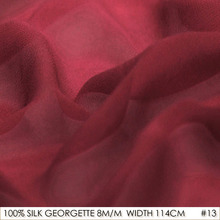 SILK GEORGETTE 114cm width 8momme/100% Pure Silk Chiffon Fabric Factory Direct Online Store Wine Red NO 13