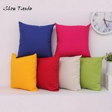 Simple Solid Pure Cotton Decorative Cushion Cover Cases Printed Sofa Throw Pillow Covers Company Gifts Wholesale Drop Shipping(China)