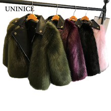 UNINICE Fashion Girls Fur Coats 2017 New Baby Girls PU Leather Faux Fox Fur Motorcycle Jackets Winter Warm Kids Outerwear Coats(China)