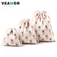 3pcs/set Gift Bags for Children Cotton Canvas Pouch Drawstring Pineapple Printing Candy Tea Bags Storage Bags Small Bags B163