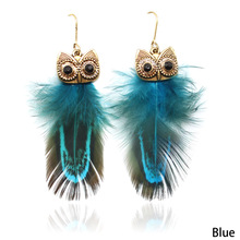 Vintage Beads Plated Ethnic Drop Earrings Bohemia Style Peacock Feather Owl Earrings For Women Gift(China)