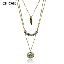CHICVIE Long Bohemian Gold color Bead Necklaces & Pendants For Women Boho Vintage Statement Colar Ethnic Alloy Jewelry SNE150881(China)