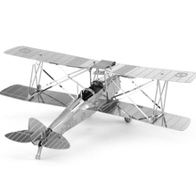 2016 New Arrival Aipin DIY 3D Puzzle Stainless Steel Model Kit Biplane Silver Color Best Holiday Gift For Children