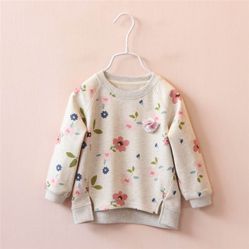 Long Sleeve Girls Tops Winter 2018 Baby GirlsTops And Tees Toddler Kids Baby Girls Floral Printed T-Shirt Tops and Blouses S14#F (3)