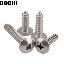 GB/T 50pcs M3 M4 M5 304 stainless steel large flat head self tapping screw round head phillips truss mushroom screws(China)