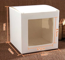 30PCS/LOT  10x10x10cm White Cardboard Gift Model Packaging boxes Display Box With PVC Window Storage Case