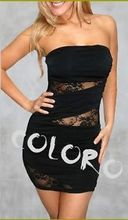 New YCZ0 Women Sexy Black Sleeveless Lace Evening Party Clubbing Mini Dress Clothing