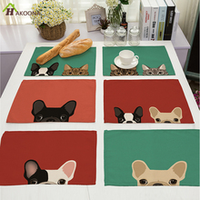 HAKOONA 4 Pieces Placemats Cartton Puppy Pug Corgi Kitten Table Napkins Cotton Linen Fabric Table Decoration Tea Towels 42*32cm