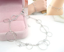 Silver Anklet Chain Foot Jewery Beach Bracelet Chain Round Circle Pendant Women Femme Ladies Female Trinklet Beach Accessories