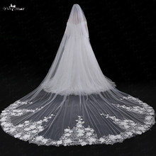 LZP036 Veil 5 Meters Flower Veil Applique One Layer Veil