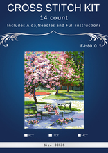park scene of spring season chinese Stitch,DIY 14CT similar  DMC Cross Stitch,Sets For Embroidery Kits Counted Cross-Stitching