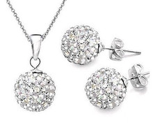 Hot sale!10mm White  Earrings+ Silver Chains Crystal Micro Pave Disco Ball Silver  Shamballa Earrings Necklace Set  jewelry