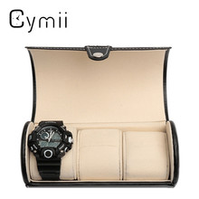 Black 3 Slot Cylindrical Watch Travel Case Leather Roll Jewelry Watch Storage Holder Watchbox Case Collector Organizer 19x9cm