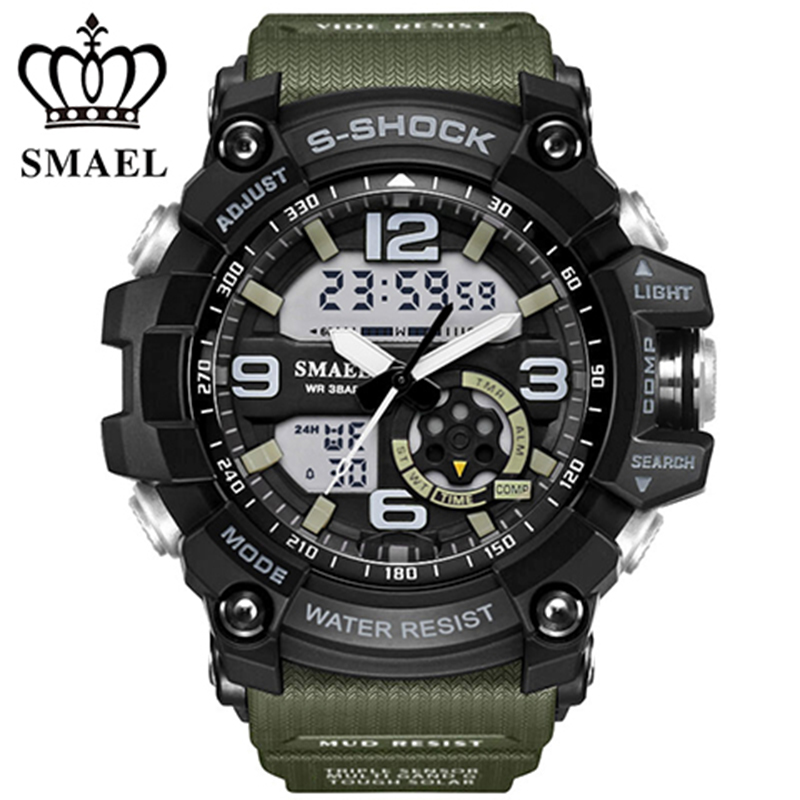 Cool Military Watch Dual Time Quartz Watch Fashion Outdoor Sport Watches Men LED Digital  montre homme relogios masculinoWS1617 <br><br>Aliexpress