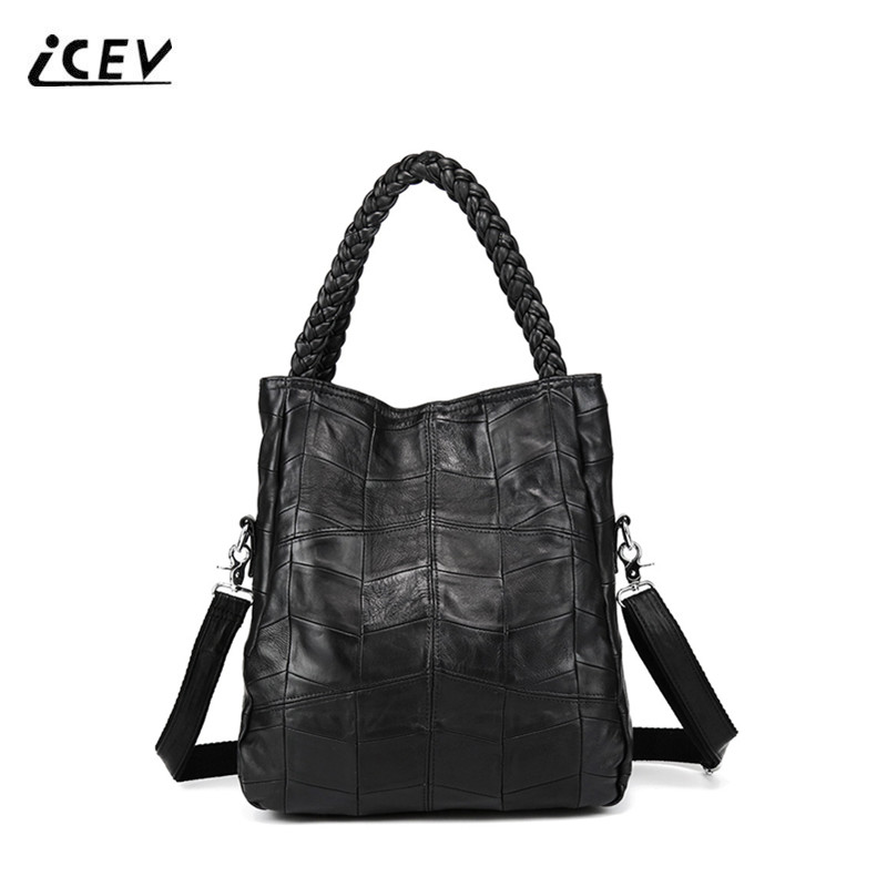 ICEV New Fashion Big Genuine Leather Handbags Weave Top Handle Bags Handbags Women Famous Brands Sheepskin Women Leather Handbag<br>