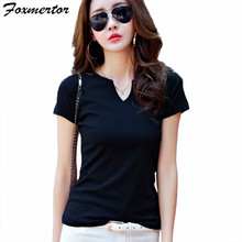 Foxmertor Cotton T-shirt Women 2017 New Summer Short Sleeve V-Neck T-Shirts Female Solid Black Tops Casual Basic Lady Tees #F600
