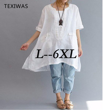 HOT Plus Size 6XL Summer Casual White Women Blouse Shirt 2017 Female Loose Short Sleeve Lady Long Shirts - TEXIWAS Store store