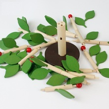 Kid's Soft Wooden Tree Flower Assembling Blocks Set Educational Toy High Quanlity Gift For Children(China)