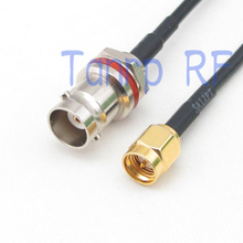 6in mini BNC female with nut bulkhead to SMA male RF connector adapter 15CM Pigtail coaxial jumper cable RG174 extension cord