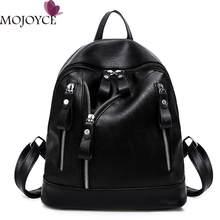 ee000e235b3 Women Backpack Female PU Leather Rucksacks Students Schoolbag For Teenagers  Girls Pretty Mini Black Backpacks Mochila Feminina