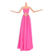 New Diy Handmade Doll Clothes Rose Re Evening Wedding Dress Party Dress For Barbie Doll