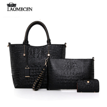 Famous Brands Vintage Crocodile Women Composite Bag High Quality Fake designer bags Card Holder Luxury French Handbags bolsas(China)